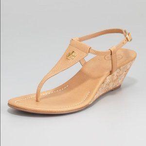 Tory Burch Britton Leather Cork Wedge Sandals